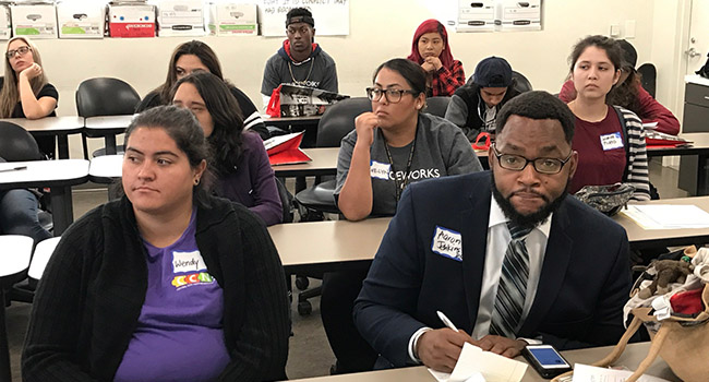 Aaron Jenkins, director of the office of faith-based and neighborhood initiatives, U.S. Department of Commerce, and representative of the White House Summer Opportunity Project participates in a workshop on conflict resolution.