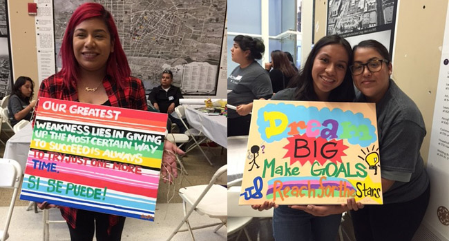 Participants designed and painted mini-murals with uplifting messages for their college-bound peers, to be displayed around Los Angeles at YouthSource community centers.